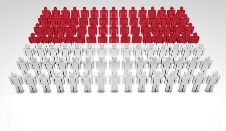 indonesian flag: Parade of 3d people forming a top view of Indonesian flag  With copyspace