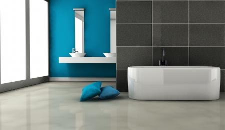 Cuarto de ba�o con un dise�o contempor�neo y muebles de color azul en la representaci�n, 3d