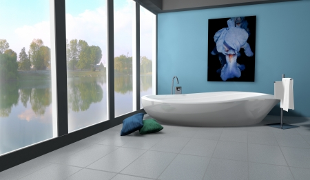 Bathroom with modern and contemporary design and furniture colored in blue with lake view, 3d rendering  Stock Photo - 14167005