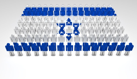 Parade of 3d people forming a top view of Israeli flag  With copyspace  photo
