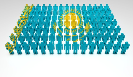 kazakhstan: Parade of 3d people forming a top view of Kazakhstan flag  With copyspace