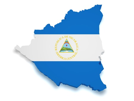 Nicaragua: Shape 3d of Nicaragua flag and map isolated on white background