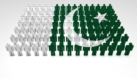 pakistan: Parade of 3d people forming a top view of Pakistan flag  With copyspace