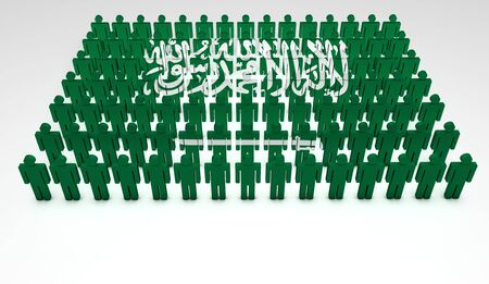 the national team: Parade of 3d people forming a top view of Saudi Arabian flag  With copyspace