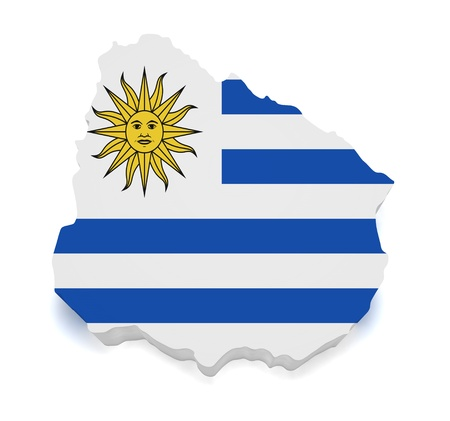 bandera de uruguay: 3d forma de bandera uruguaya y el mapa aisladas sobre fondo blanco