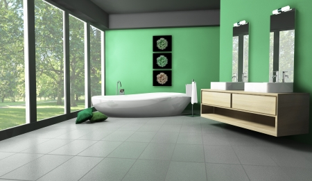Interior of a modern and contemporary bathroom colored in green with forest and trees view  3d rendering  photo