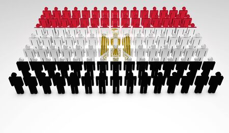 Parade of 3d people forming a top view of Egyptian flag  With copyspace Stock Photo - 14229545