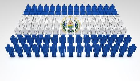 el salvador flag: Parade of 3d people forming a top view of El Salvador flag  With copyspace  Stock Photo