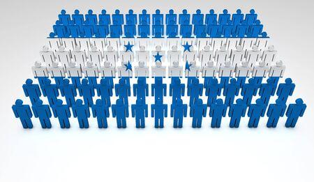 bandera honduras: Desfile de las personas que forman 3d una vista superior de bandera hondureña con copyspace