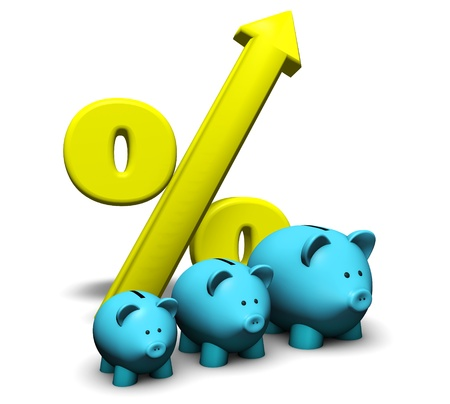 Savings growth concept  With a funny growing piggybank and percentage symbol on white background  photo