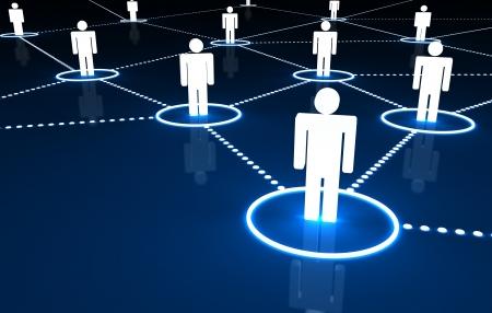 Concepto de red social con la conexi�n de las personas por las l�neas de ne�n 3D de puntos sobre fondo azul oscuro
