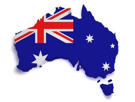 3d Forma de la bandera australiana y un mapa aislado sobre fondo blanco