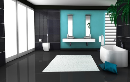Interior of a modern and contemporary bathroom colored in black and blue aquamarine  3d rendering