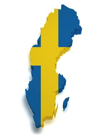 relief maps: Shape 3d of Swedish flag and map isolated on white background