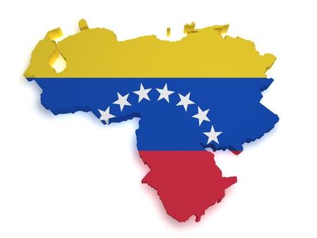 Venezuela flag: 3d forma de bandera venezolana y el mapa aisladas sobre fondo blanco