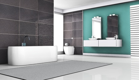 Interior of contemporary bathroom design with granite tiles and modern white sanitary fixtures and furniture  3d rendering  photo