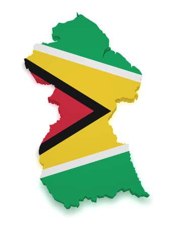 guyanese: Shape 3d of Guyanese flag and map isolated on white background  Stock Photo