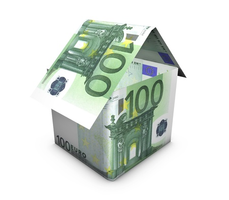 Real estate concept  House shaped with euro banknotes on white background  photo