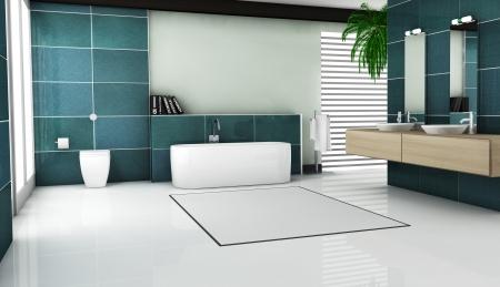 piastrelle bagno: Interno del design del bagno moderno con piastrelle in granito e moderni infissi bianchi sanitari e mobili di rendering 3d