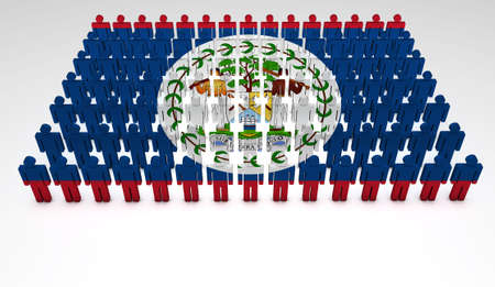belize: Parade of 3d people forming a top view of Belize flag  With copyspace  Stock Photo