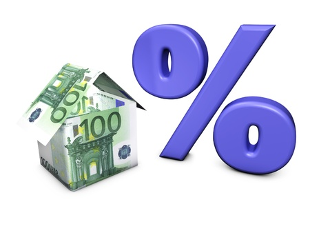 Real estate concept  House shaped with euro banknotes and percent symbol on white background  photo