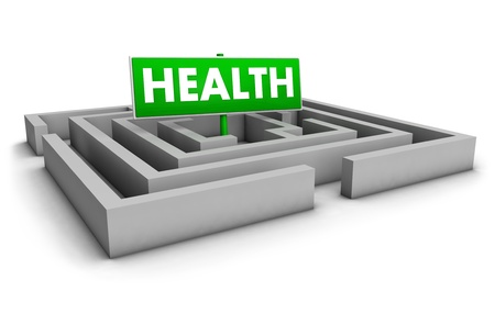 Investment concept with labyrinth and green health sign on white background  photo