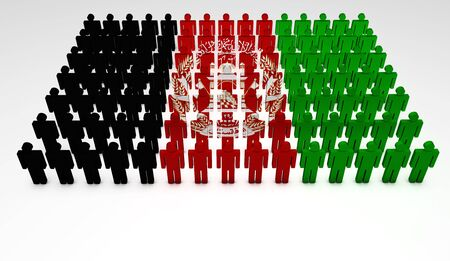 afghan flag: Parade of 3d people forming a top view of Afghanistan flag  With copyspace  Stock Photo