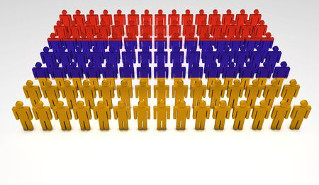 Parade of 3d people forming a top view of Armenia flag  With copyspace Stock Photo - 14742927