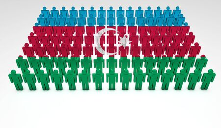 azerbaijani: Parade of 3d people forming a top view of Azerbaijan flag  With copyspace