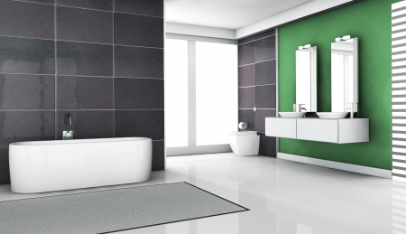 Interior design of a modern and contemporary bathroom with granite tiles, big windows and clean white floor   3d rendering Stock Photo - 14747233