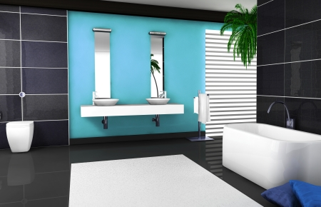 Interior design of a modern and contemporary bathroom with granite tiles, bathtub and black floor  3d rendering  photo