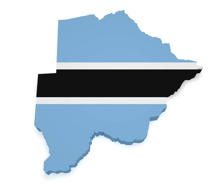 botswanan: Shape 3d of Botswana map and flag isolated on white background