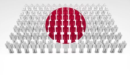 Parade of 3d people forming a top view of Japanese flag  With copyspace  photo