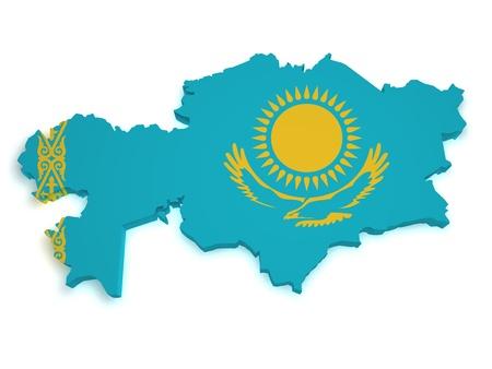 kazakhstan: Shape 3d of Kazakhstan flag and map isolated on white background