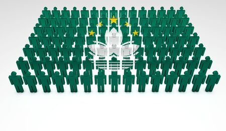 Parade of 3d people forming a top view of Macau flag  With copyspace Stock Photo - 14747211