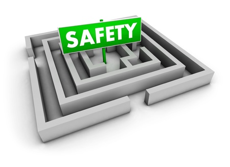 Safety concept with labyrinth and green goal sign on white background  photo