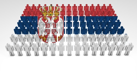 Parade of 3d people forming a top view of Serbia flag  With copyspace Stock Photo - 14747221