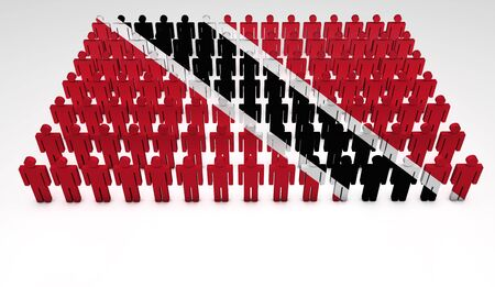 Parade of 3d people forming a top view of Trinidad and Tobago flag  With copyspace Stock Photo - 14747209
