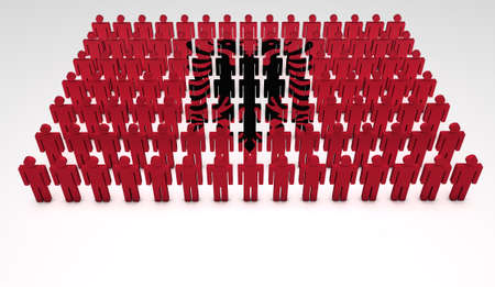 Parade of 3d people forming a top view of Albanian flag  With copyspace  photo