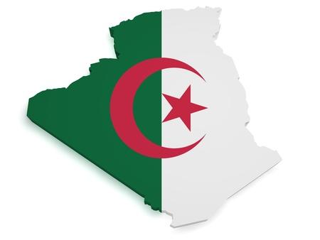 algerian flag: Shape 3d of Algerian flag and map isolated on white background  Stock Photo