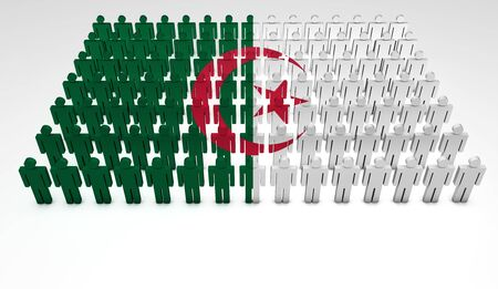 algerian flag: Parade of 3d people forming a top view of Algerian flag  With copyspace