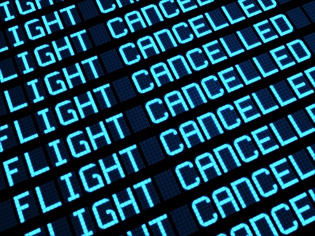 cancellation: Departures board at airport terminal showing cancelled flights because of strike  Travel unforeseen concept, 3d rendering  Stock Photo