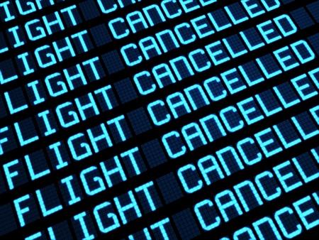Salidas bordo en la terminal de aeropuerto que muestra vuelos cancelados por concepto de viajes huelga imprevista, representaci�n 3D