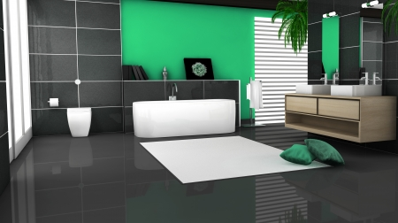Bathroom interior with modern and contemporary design and furniture with granite tiles and big windows, 3d rendering  photo
