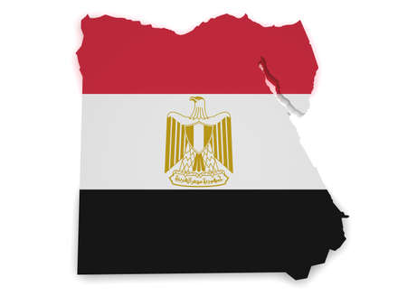 Shape 3d of Egyptian flag and map isolated on white background. photo