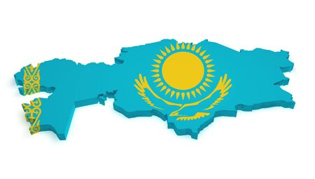 Shape 3d of Kazakh map with flag isolated on white background. Stock Photo - 14841365