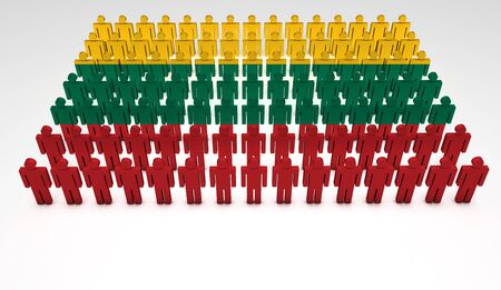 lithuanian: Parade of 3d people forming a top view of Lithuanian flag. With copyspace.