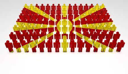 Parade of 3d people forming a top view of Macedonian flag. With copyspace. Stock Photo - 14841386