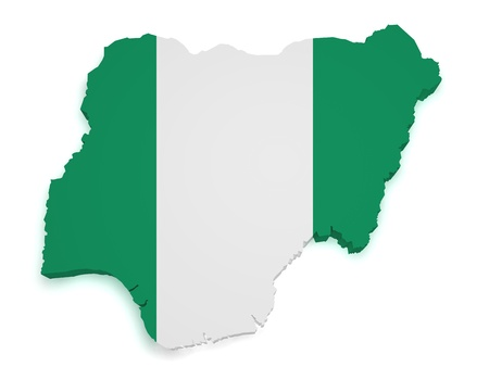 country nigeria: Shape 3d of Nigerian flag and map isolated on white background.