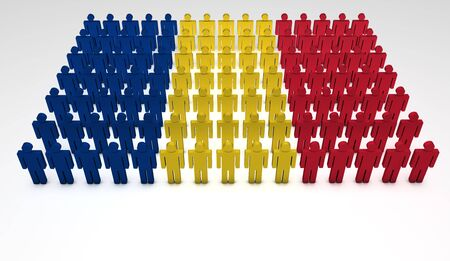 Parade of 3d people forming a top view of Romanian flag. With copyspace. Stock Photo - 14841379